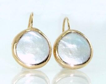 Coin Pearl Earrings, June Birthstone, Pearl,Gemstones Earrings, Pearl Dangle Earrings, Bezel Earrings, Simple Pearl Gold Earrings.