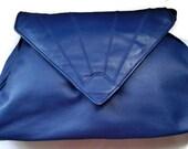 Royal Blue Leather Shoulder Bag