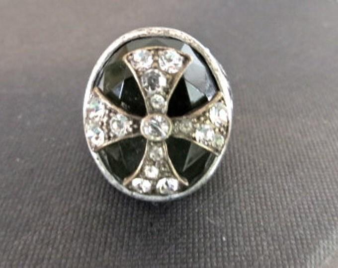 CLEARANCE Maltese Cross Ring Rocker Style Jeweled Vintage Steampunk Rockabilly