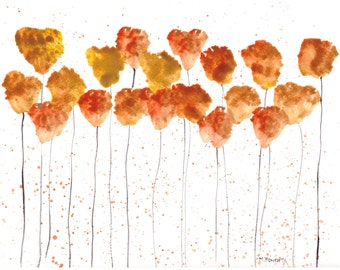 Flowers abstract, original watercolor abstract painting, orange flowers art, modern abstract