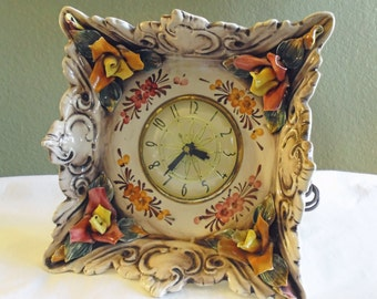 Vintage Capodimonte Porcelain Clock with Ornate Flowers - Hand Painted - Made in Italy