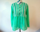 Vintage 1970s Boho Mint Flowy Long Sleeve Top with Rainbow Ribbon Trim and Ruching