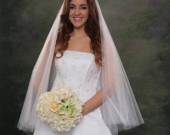 Ivory Fingertip Wedding Veil 40 Inch Double Layer Finger Tip Circular Style White Illusion Tulle Ivory Bridal Veil Cascading Drape Veil