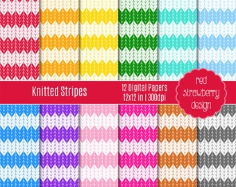 75% OFF Sale - Knitted Stripes - 12 Digital Papers - Instant Download - JPG 12x12 (DP189)