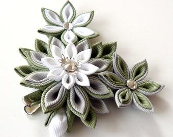 Kanzashi fabric flower hair clip. White, grey and green kanzashi.