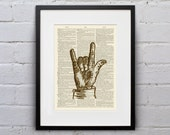 I Love You Sign - Vintage Sign Language Alphabet - Shabby Chic Dictionary Page Book Art Print - DPSL029