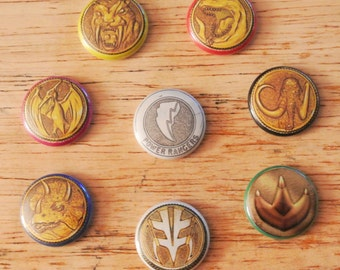 Mighty Morphin Power Rangers Power Coin Buttons Pin Badge Set of 8