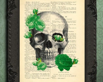 Skull roses, roses art print, prints and posters, skull dictionary art print, skull decor, skull decoration, art print, mixed media