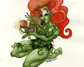 Poison Ivy, DC Comic Supervillain, Original Watercolor Painting