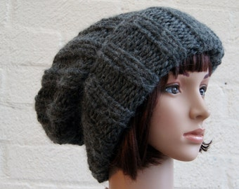 Extra large Knitted Slouchy Grey Beanie hat, Oversized knitted Beanie hat, Chunky knit slouchy hat, winter hat
