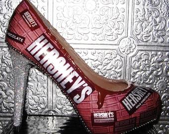 hershey chocolate heels/ chocolate heels/ hershey shoes/ hershey chocolate/ silver glitter heels/ custom heels/ melted chocolate heels