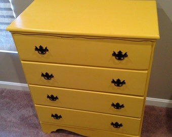 ITEM IS SOLD - Farmhouse Yellow Distressed Vintage Dresser