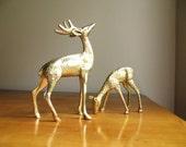 Vintage Brass Deer Figurines, Doe, Buck, Deer Family, Woodland Brass Animal, Reindeer Statues, Pair