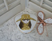 Vintage 1960s Mod Les Girls Michelle Porcelain Trinket Triangle Box Girl Dressed In Yellow Hand Painted