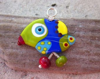 Oliver - the  Lucky Bird Lampwork Glass Pendant Sterling Silver