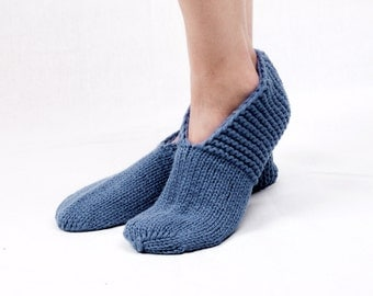 MEN SLIPPER SOCKS. Hand knitted from natural blue color wool yarn. Great Christmas present