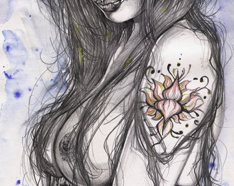"""Pencil and Watercolor, """"Heteferes Blue"""""""