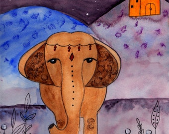Elephant Art Print, Watercolor Elephant, Indian Elephant Art,