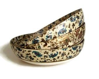 Vintage Papier Mache Bowls, Viking Import, Alfred E. Knobler, Japan, Set of 3, 1950's Cottage Chic, Home Decor-Decorative Bowls