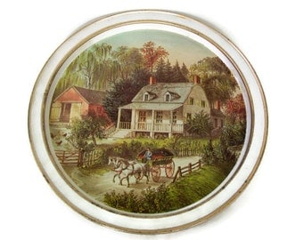 Vintage Currier and Ives- Round Serving Tray- American Homestead- Summer-Wall Decor-Home Decor-Collectible-Metal Tray-Cottage Chic-Kitchen