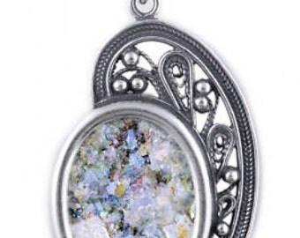 Filigree Woman Pendant, 925 Sterling Silver pendant, Ancient Roman Glass Pendant, Roman Glass Jewelry
