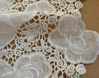white cotton lace fabric, embroidered lace cloth, vintage fabric lace, hollowed floral lace fabric, bridal lace fabric