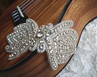rhinestone Applique, crystal applique, bridal Sash Applique, beaded rhinestone applique, bridal headpiece applique