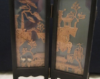 Chinese Carved Cork Diorama in Glass Frames
