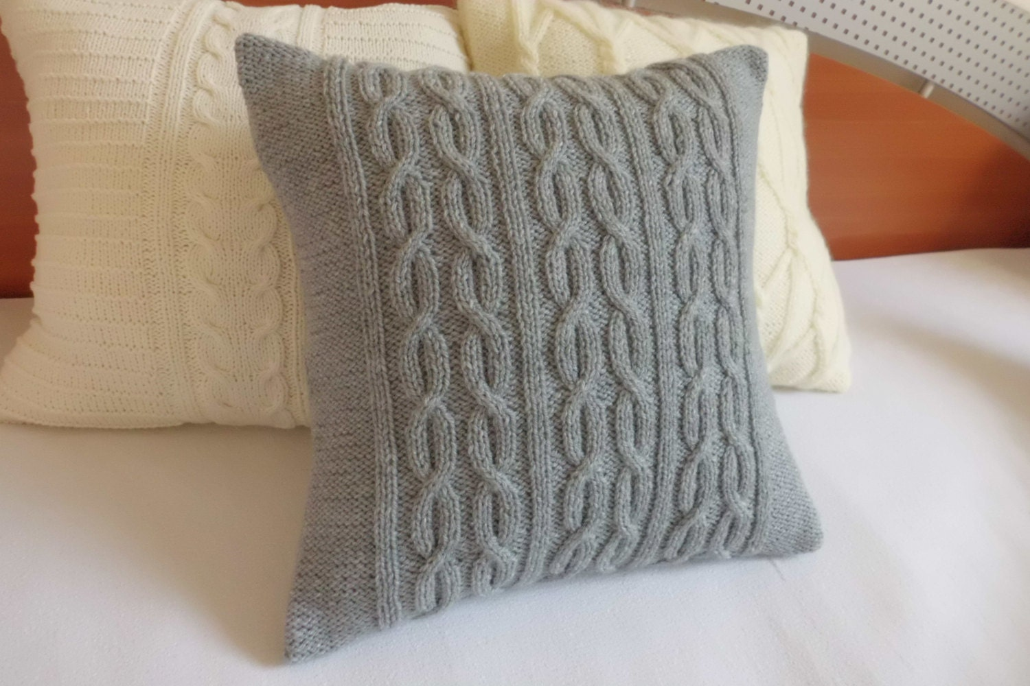 Custom Gray Decorative Cable Knit Pillow Cover Throw Pillow