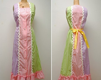 Vintage Gingham Lounge Dress- Small, Lounge Craft