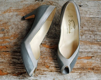 Vintage Evins Gray Peeptoe Shoes- Womens Size 8
