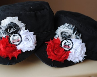 Womens NIU Hats Womens Cadet Hats, Womens Black Distressed Military Cadet flower hat. Shabby Chic Flower Hats Huskies Team Hat