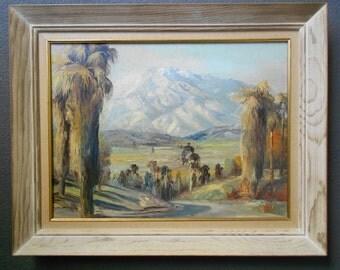 Original DeWitt Parshall Vintage California Plein Air Impressionist Landscape Santa Ynez Mountains Palms Eucalyptus Tonalism Oil Painting