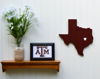 "Texas A&M Aggies ""State Heart"" wall art, handcrafted wood with official team colors"