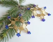 2 piece set of seed bead stars, gold and blue beaded stars, tree ornament or decoration item for Christmas from beads and wire