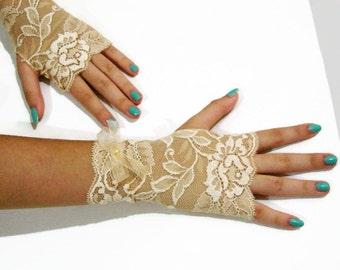 Sunset Lace fingerless gloves,Deep Peach Wedding Gloves