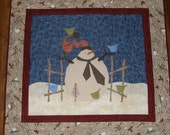 Christmas Snowman Holiday Quilted Wall Hanging Art Quilt Whimsical Snowman Quilt