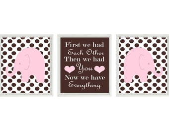 Elephant Nursery Art - Pink Brown Polka Dots - Baby Girl Nursery Prints  Wall Art -  First We Had Each Other Quote - Nursery Decor -
