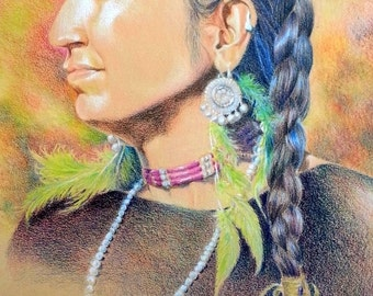 "Original Colored Pencil Painting of native art/portrait, ""Celebrating Tradition"", available in Giclee' prints."
