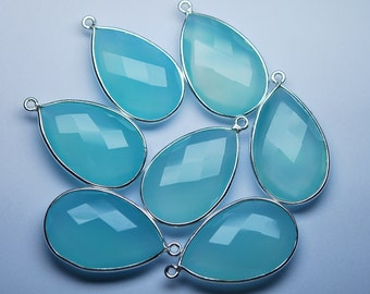 925 Sterling Silver Aqua Chalcedony Faceted Pear Shape Pendant,2 Piece of 33mm