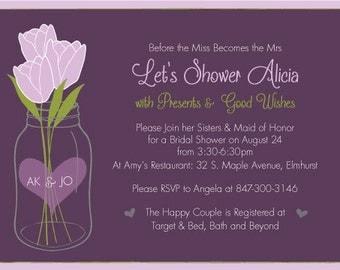 Bridal Shower PRINTABLE Invitation - PurpleTulips/Plum