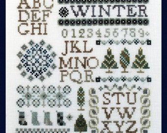 Christmas Cross Stitch Instant Download Pattern Mini Winter Sampler Counted Embroidery X Stitch Chart Alphabet Letters Initials Monogram