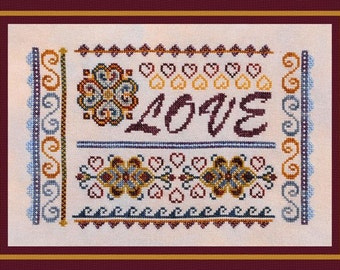 Valentine Cross Stitch Instant Download Pattern Love Sampler! Counted Embroidery Chart. Romantic Design. X Stitch DIY Home Decor