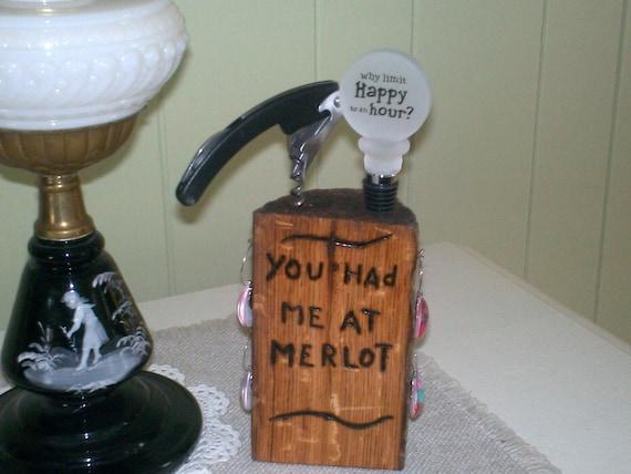 made oak log wine charm holder