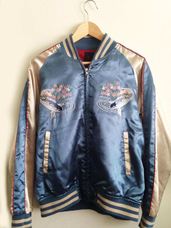 Vintage japanese embroidered bomber jacket unisex mens