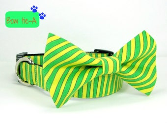 Christmas Elves Dog Collar with bow tie set-Green/Yellow Stripe   (Mini,X-Small,Small,Medium ,Large or X-Large Size)- Adjustable