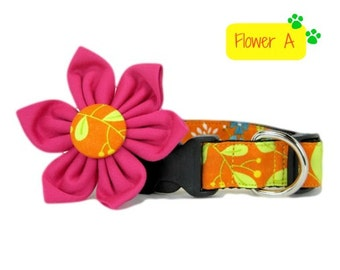 Dog Collar with Flower set- Orange Floral Print   (Mini,X-Small,Small,Medium ,Large or X-Large Size)- Adjustable