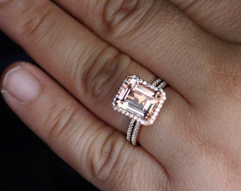 Morganite Rose Gold Engagement Ring Bridal Ring Set 14k Rose Gold Peach Pink  Morganite Emerald Cut 10x8mm and Diamond Halo