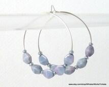 "Sterling Silver Hoop Earrings -- Simple Hoops -- Czech Blue Luster ""Pinch"" Bead Earrings"