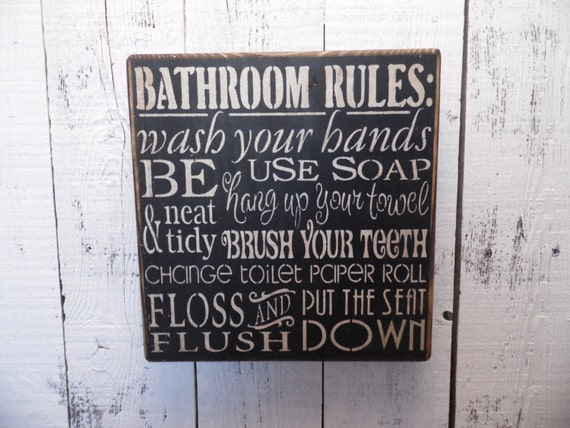 Bathroom Rules Wall Decor : Wooden sign bathroom rules subway art wall decor
